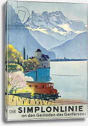 Постер Кардино Эмиль Simplonlinie', poster advertising rail travel around Lake Geneva