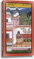 Постер Школа: Индийская 17в. A lady picking flowers from a pot, Bundi, Rajasthan, Rajput School, c.1680,