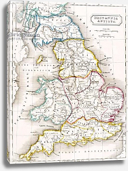 Постер Школа: Английская 19в. Map of England, Britannia Antiqua, from 'The Atlas of Ancient Geography', c.1829