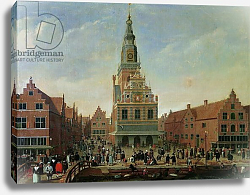 Постер Школа: Голландская 17в View of the Weighhouse and the Cheese Market at Alkmaar