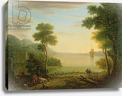 Постер Уоттон Джон Classical landscape with figures and animals, Sunset, 1754