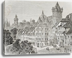 Постер Panierplatz in Nuremberg, Germany. Created by Therond, published on Le Tour du Monde, Paris, 1864