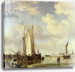Постер Вельде Вильям Dutch Vessels Inshore and Men Bathing, 1661