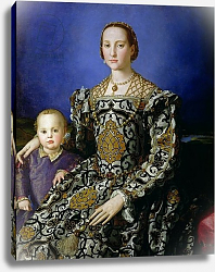 Постер Бронзино Анджело Portrait of Eleanor of Toledo and her Son, Giovanni de Medici, c.1544-45
