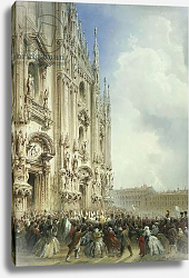 Постер Боссоли Карло The War in Italy: The Arrival of the Emperor Napoleon III and the King of Sardinia at the Duomo, Milan, 1859