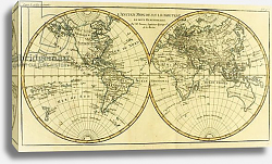 Постер Бонне Чарльз (карты) Map of the World in two Hemispheres, 1780