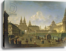 Постер Алексеев Федор View of the Voskresensky and Nikolsky Gates and the Neglinny Bridge from Tverskay in Moscow, 1811