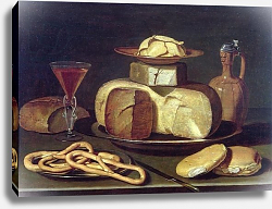 Постер Бирт Осис Still Life with bread, cheese, wine and pretzels