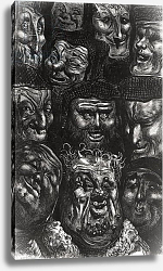 Постер Доре Гюстав Eleven grotesque faces from 'Les Contes Drolatiques' by Honore de Balzac engraved by Predhomme