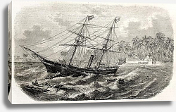 Постер Malabar wreck on Ceylon coast. Created by Lebreton, published on L'Illustration, Journal Universel,