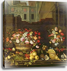 Постер Аст Балтазар Still Life with Flowers, Fruits and Shells