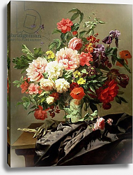 Постер Роббе Генри Peonies, Poppies and Roses, 1849