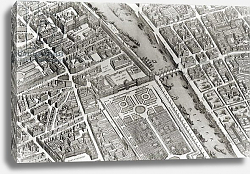 Постер Бретез Луи (карты) Plan of Paris, known as the 'Plan de Turgot', engraved by Claude Lucas, 1734-39 3
