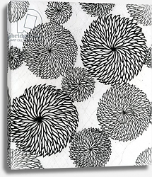 Постер Школа: Японская 19в. Chrysanthemums, a stencil for printing on cotton