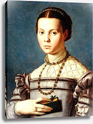 Постер Бронзино Анджело Portrait of a Young Girl Holding a Book c.1545
