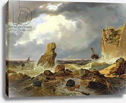 Постер Ахенбах Андреас Surf on a Rocky Coast, 1835