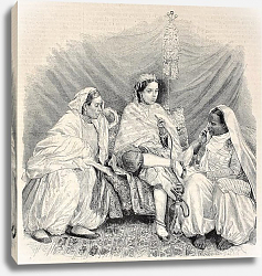 Постер Moorish women in home interior in Algiers. Original, from drawing of Janet-Lange, published on L'Ill