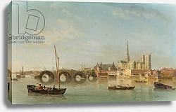 Постер Скотт Самуэль The Building of Westminster Bridge with an imaginary view of Westminster Abbey, c.1742