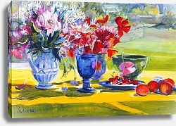 Постер Уэльс Сью (совр) Midsummer flowers on garden table, 1993