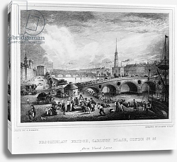Постер Флеминг Джон Broomielaw Bridge, Carlton Place, Clyde St., Glasgow, engraved by Joseph Swan, 1830
