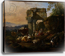 Постер Роос Йоханн Roman Landscape with Cattle and Shepherds, 1676