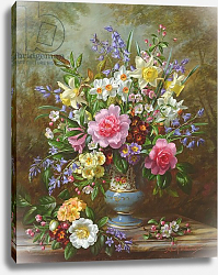 Постер Уильямс Альберт (совр) AB/200/2 Bluebells, daffodils, primroses and peonies in a blue vase