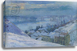 Постер Лебур Альбер The Village of Herblay under snow, 1895