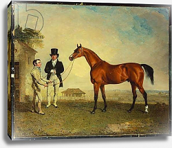 Постер Маршалл Бенджамин 'Skiff', a bay Racehorse held by a Groom on Newmarket Heath, with John Howe, the owner of the Stables, at his side, 1829