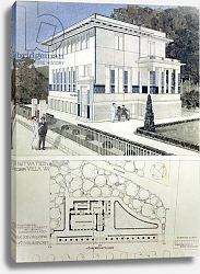 Постер Вагнер Отто Villa Wagner, Vienna, design showing the exterior of the house, built of steel and concrete, 1913