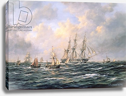 Постер Уиллис Ричард Convoy of East Indiamen amid Fishing Boats