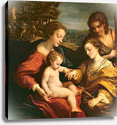 Постер Корреджо (Correggio) The Mystic Marriage of St. Catherine of Alexandria, c.1526-27