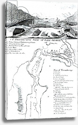 Постер Школа: Америка (18 в) A Perspective View of Lake George and a Plan of Ticonderoga