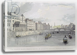 Постер Школа: Ирландская 19в. Cloth Mart, Home's Hotel and Queen's Bridge, Usher's Quay, Dublin