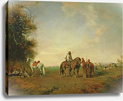 Постер Фроментин Евген Resting place of the Arab horsemen on the plain, 1870
