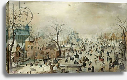 Постер Аверкамп Хендрик Winter Landscape with Skaters. c.1608