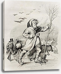 Постер Winter, old allegoric illustration. Created by Grandville, published on Magasin Pittoresque, Paris,