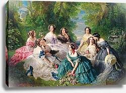 Постер Винтерхальтер Франсуа Empress Eugenie Surrounded by her Ladies-in-Waiting, 1855