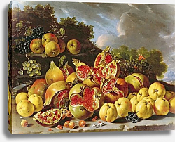 Постер Мелендес Луис Still Life with pomegranates, apples, cherries and grapes