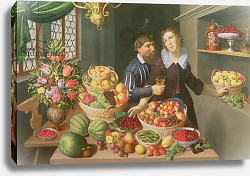 Постер Флегель Георг Man and Woman Before a Table Laid with Fruits and Vegetables
