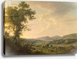 Постер Эшфорд Уильям Landscape with Haymakers and a Distant View of a Georgian House, c.1780