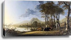 Постер Вид реки с пастухом и крестьянами