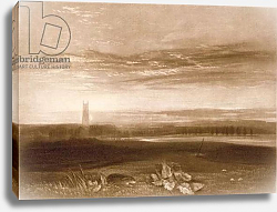 Постер Тернер Уильям (William Turner) R.809 Gloucester Cathedral, from the 'Little Liber', engraved by the artist, c.1826