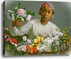Постер Базиль Жан Young Woman with Peonies, 1870