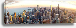 Постер США, Чикаго. Aerial Chicago panorama at sunset