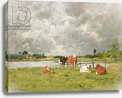 Постер Буден Эжен (Eugene Boudin) Cows in a Field under a Stormy Sky, 1877