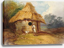 Постер Чиннери Джордж View in Southern India, with a Warrior Outside his Hut, c.1815