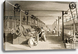 Постер Аллом Томас (грав) Carding, Drawing and Roving, Cotton factory floor, engraved by James Tingle c.1830