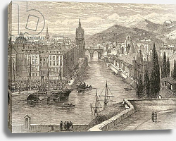 Постер Школа: Английская 19в. Bilbao, Spain, illustration from 'Spanish Pictures' by the Rev. Samuel Manning