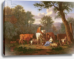 Постер Велде Адриан Landscape with Cattle and Figures, 1664