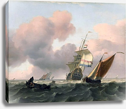 Постер Turbulent sea with ships